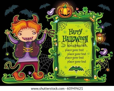 Halloween  frame with cute devil boy with pitchfork in hand. with place for your text. - stock vector