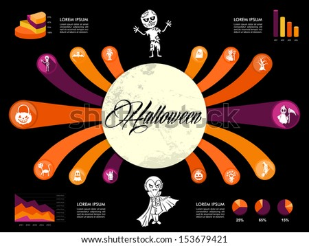 Halloween full moon Infographic template design icons text and global concept illustration background. EPS10 vector file organized in layers for easy editing. - stock vector