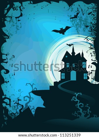 Halloween full moon night background. EPS 10. - stock vector