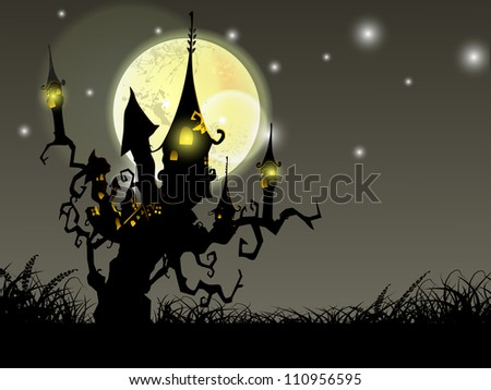 Halloween full moon night background with haunted house and dead trees. EPS 10. - stock vector