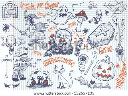 Halloween fun doodles #2 - stock vector