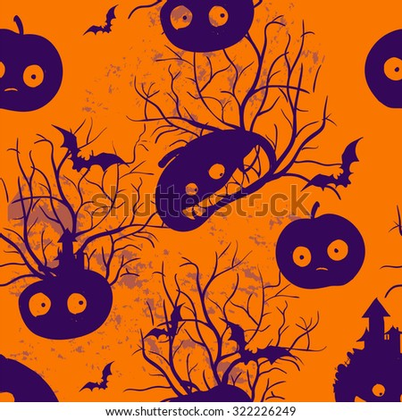 Halloween funny decorative pattern vector ornament background - stock vector