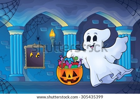 Halloween ghost in haunted castle - eps10 vector illustration. - stock vector