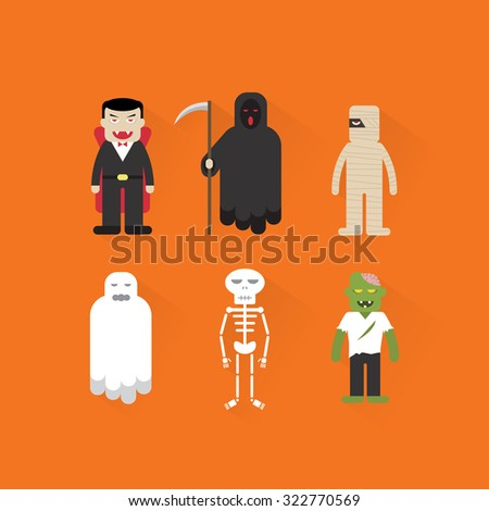 Halloween ghost & monster character vector - stock vector