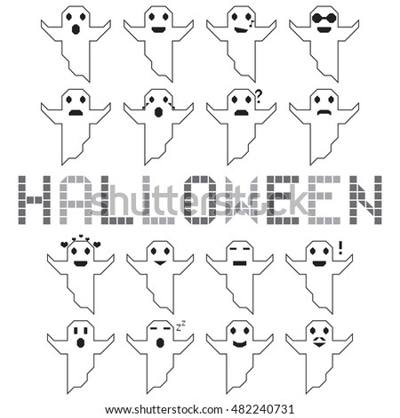 Halloween ghost vector set different face white