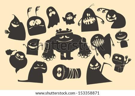 Halloween ghosts characters. - stock vector