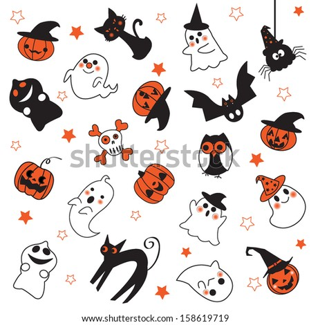 Halloween ghosts pattern illustration - stock vector