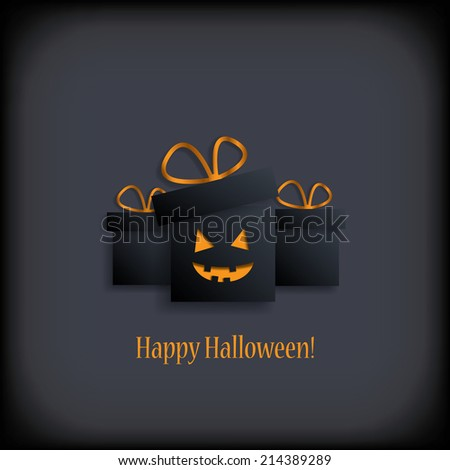 Halloween gift boxes with spooky smile. Eps10 vector illustration. - stock vector