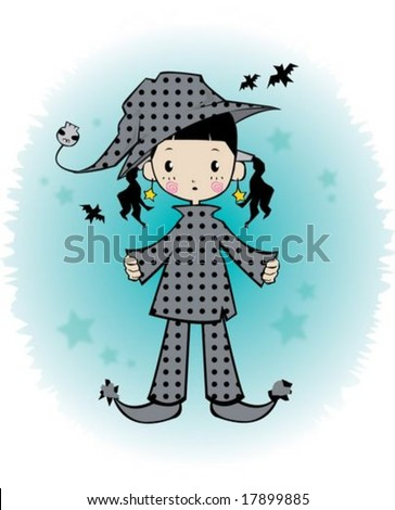 Halloween Girl - enjoying Halloween with little young friend and scary ghosts on white and bright blue background : vector illustration - stock vector