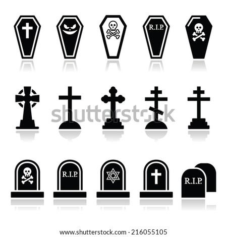 Halloween, graveyard icons set - coffin, cross, grave  - stock vector