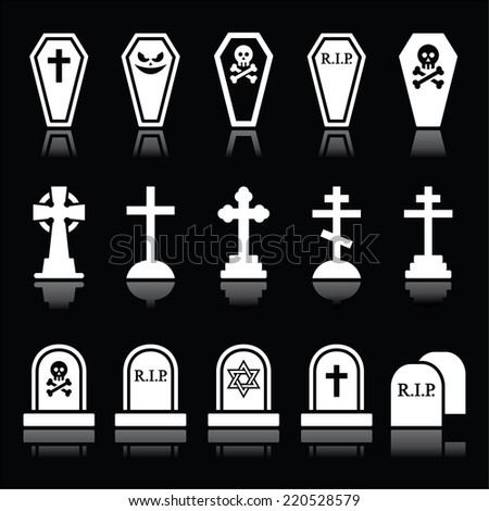 Halloween, graveyard icons set - coffin, cross, grave on black - stock vector