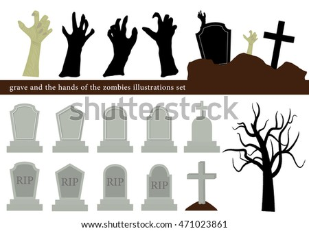 Halloween graveyard illustration set