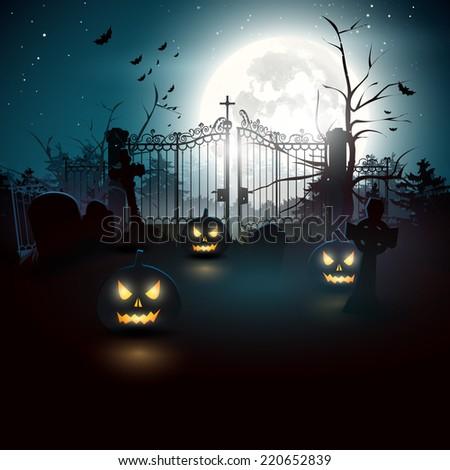 Halloween graveyard in the woods - stock vector