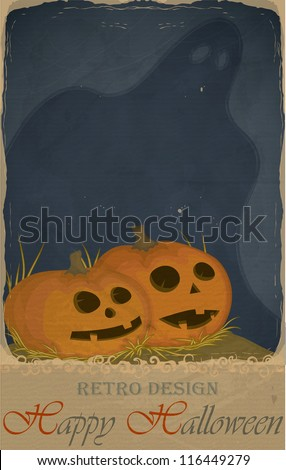 Halloween greeting card/invitation in vintage retro style with two pumpkins jack o' lantern and a ghost - stock vector