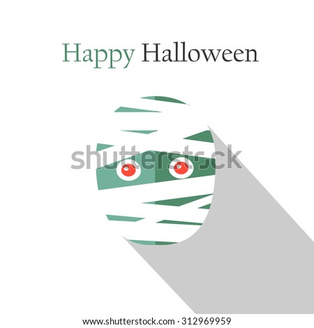 Halloween greeting card (invitation) with mummy, vector illustration - stock vector