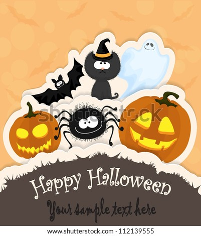 Halloween greeting card/invitation with pumpkins, spider, cat, ghost and a bat in paper style - stock vector