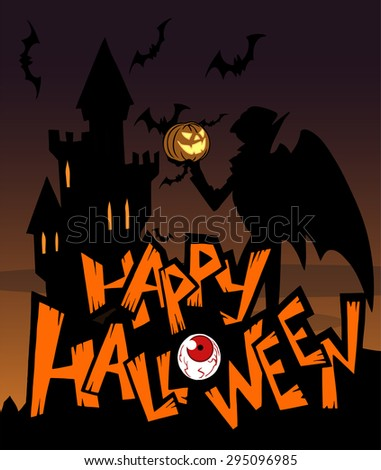 Halloween greeting card with Dracula in black silhouette