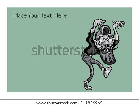 Halloween greeting card with zombie hipster - personalize your card with a custom text - stock vector