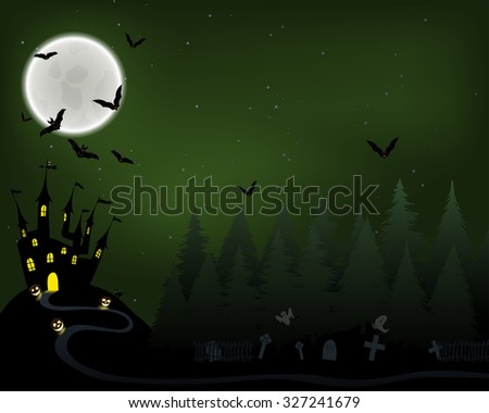 Halloween Greeting (Invitation)  Card. Elegant Design With Castle in Fir Forest, Flying Bats, Moon and Cemetery With Ghosts  Over Grunge Dark Green Starry Sky Background. Vector illustration.