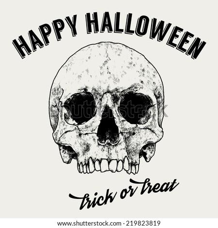 Halloween Greeting Label, Hand Drawn Skull, Vintage Typography, Vector Design - stock vector
