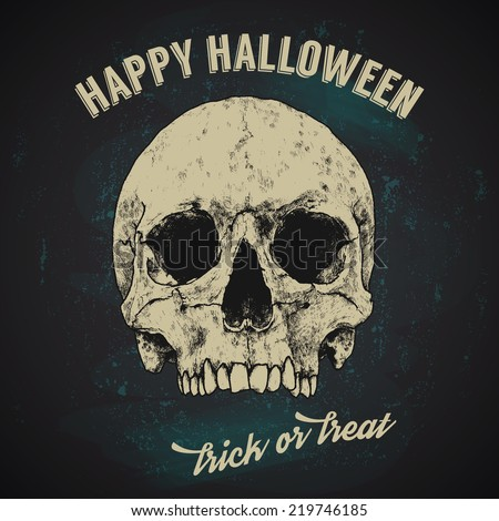 Halloween Greetings Poster Design - Hand Drawn Skull, Vintage Typography. - stock vector