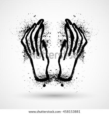 Halloween Grunge hands - stock vector
