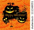 Halloween grunge vector card  or background. Vector art. - stock vector