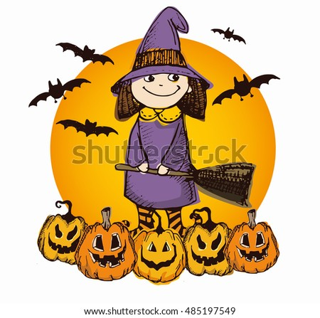 Halloween hand drawn characters and attributes doodle set. Halloween vector illustration. Little witch. Vector illustration.