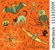 Halloween hand-drawn elements - stock vector