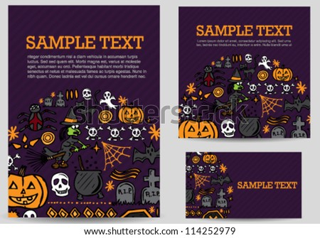 Halloween hand drawn icons card set - stock vector