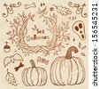 Halloween hand-drawn set. Autumn template. Use for wallpaper, pattern fills, web page background - stock vector