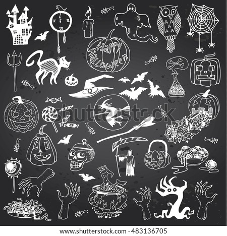 Halloween Hand Drawn Set on the Gray Chalkboard Background.