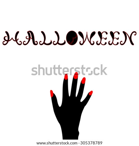 Halloween hand lettering with hand.Typography Vector Background. Handmade calligraphy.  - stock vector