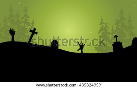 Halloween hand zombie in tomb scary silhouette - stock vector