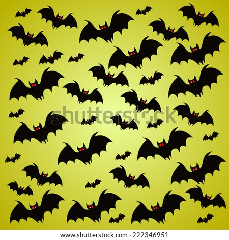 Halloween holiday background with bats - stock vector