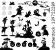 Halloween holiday cartoon, set of objects, animals and characters: pumpkins, witch, voodoo castle of grebes mushrooms and more. Black silhouettes on white background. Vector - stock photo