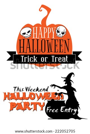 Halloween holiday invitation with pumpkin, witch, banner, pot or bowler, free entry signs and skulls  - stock vector