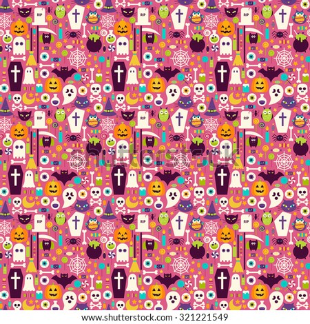 Halloween Holiday Items Seamless Pattern. Flat Design Vector Seamless Texture Background. Halloween Party Template. Trick or Treat - stock vector