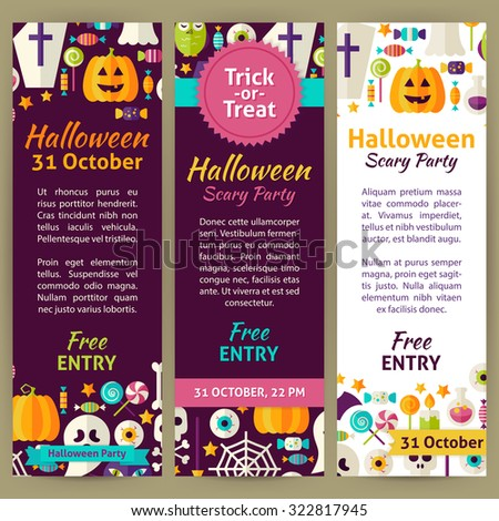 Halloween Holiday Party Invitation Template Flyer Set. Flat Design Vector Illustration of Brand Identity for Halloween Promotion. Trick or Treat Colorful Pattern for Advertising - stock vector