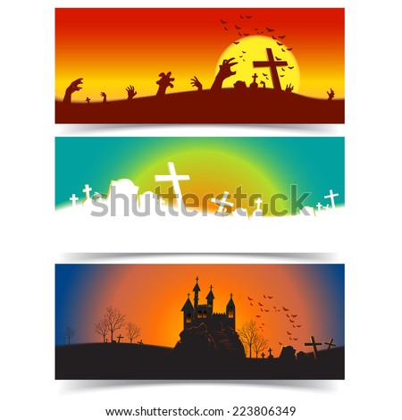 Halloween horizontal banner 3 design,Vector holiday background - stock vector