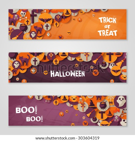 Halloween Horizontal Banners or Flyers. Vector Illustration. Halloween Party Invitation with Flat Icons in Circles. Place for Your Text Message. Banners Set with Witch Hat, Spider Web and Pumpkin. - stock vector