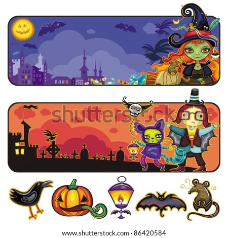 Halloween horizontal cartoon banners 2 - stock vector