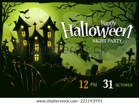 Halloween horizontal poster design template. Vector illustration. - stock vector