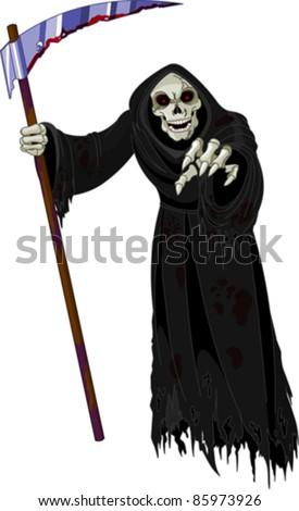 Halloween horrible Grim Reaper - stock vector