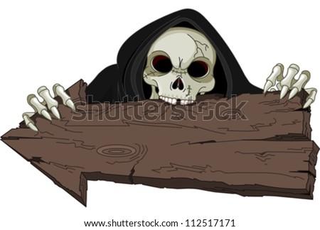 Halloween horrible Grim Reaper over arrow - stock vector
