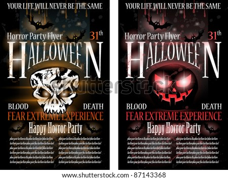 Halloween Horror Party Flyer with blood drops over the composition, grunge background and jack Skull with fear expression. - stock vector