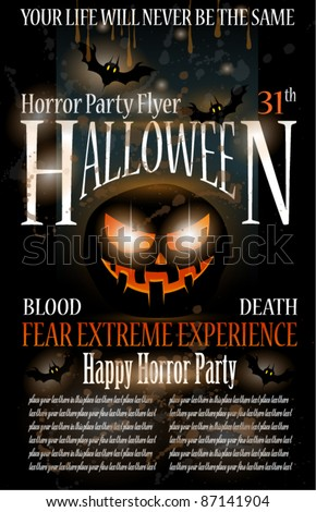 Halloween Horror Party Flyer with blood drops over the composition, grunge background and jack the lantern with fear expression. - stock vector