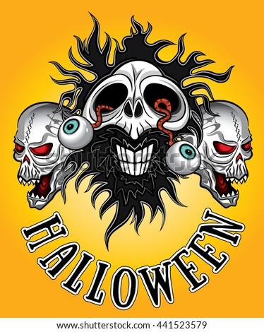 halloween horror zombie skulls design - stock vector