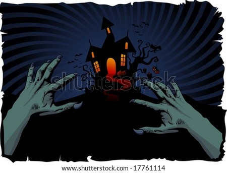 halloween house and zombie's hands - stock vector