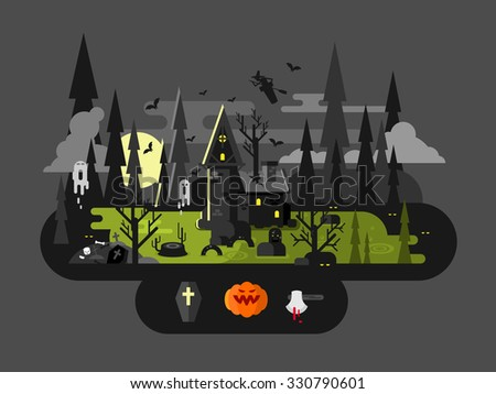 Halloween house at night. Horror monster, ax and witch, flat vector illustration - stock vector